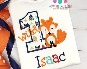 b9759ecb2470 1st Birthday Fox Shirt - Woodland Birthday Shirt - wild - one Fox Birthday  Outfit - Tribal first Birthday shirt - Tribal Fox Birthday Shirt
