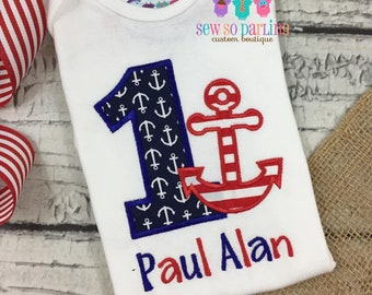 1st Birthday Anchor Birthday Outfit - Baby Boy Nautical Birthday Outfit -  1st Birthday Outfit - red navy and light blue - ANY AGE