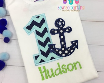 Baby Boy Nautical Birthday Outfit - 1st Birthday Anchor Birthday Outfit - 1st Birthday Outfit - Boy First Birthday outfit - blue and green