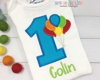 1st Birthday Balloon Birthday Outfit - Baby Boy Birthday Outfit - 1st Birthday Shirt - Bright Primary colors birthday shirt - First Birthday
