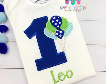 first birthday outfit boy - Blue and green Boy Birthday Outfit - 1st Birthday Balloon Outfit - 1st Birthday Shirt - first birthday outfit