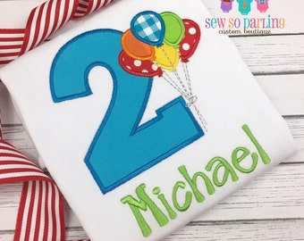7590c30631b8 2nd Birthday Balloon Birthday Outfit - Baby Boy Birthday Outfit - 1st Birthday  Shirt - Bright Primary colors birthday shirt - First Birthday