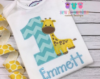 abf99ed48 Giraffe Birthday Shirt - 1st Birthday Safari Shirt - Baby Boy Giraffe  Birthday Outfit - Safari Birthday shirt - First birthday shirt boys