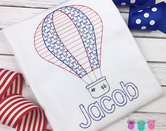 701690e593d4 boys patriotic shirt or bodysuit - hot air balloon shirt boys - 4th of july clothes  boys - memorial day clothes boys - patriotic outfit