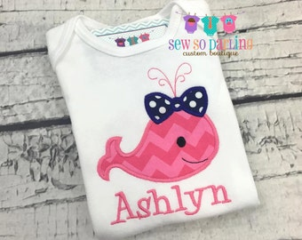 Baby Girl Whale Outfit - baby girl whale shirt - personalized baby shirt - Baby girl Nautical Shirt - baby girl gift - baby girl clothes