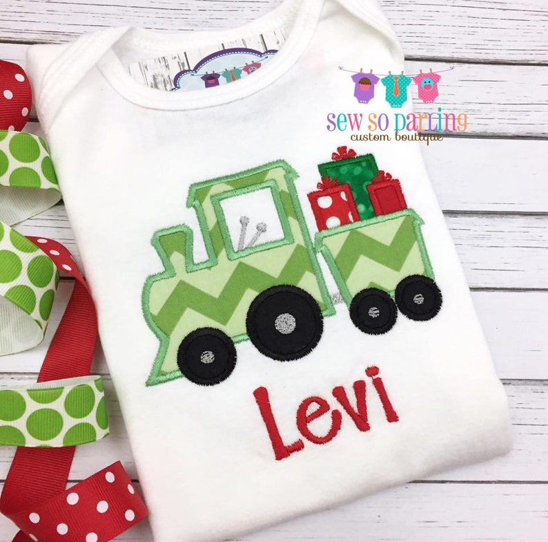 798e91f56 Baby Boy Christmas Outfit Christmas Train Shirt Toddler | Etsy