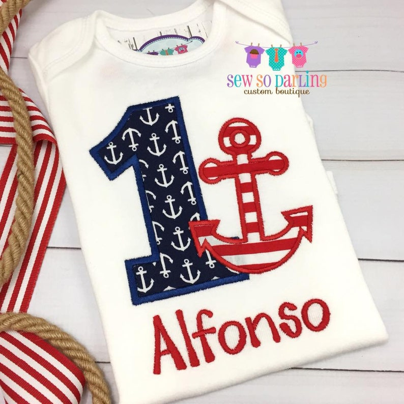 5d228dc19010 1st Birthday Anchor Birthday Outfit Baby Boy Nautical