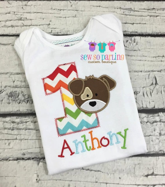Baby Boy 1st Birthday Shirt Puppy Dog