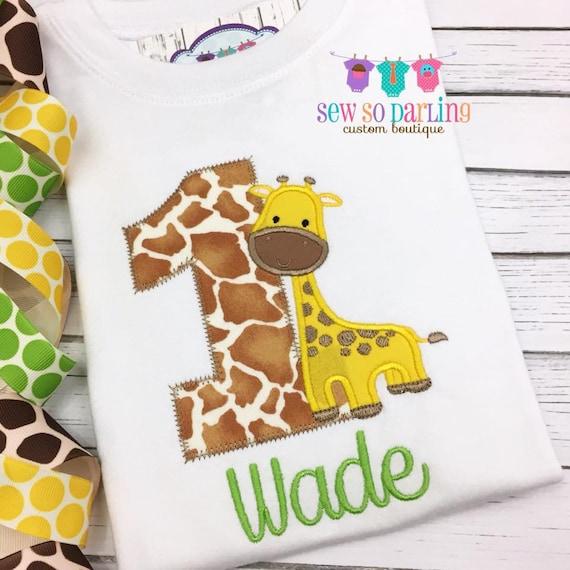 Baby Boy Giraffe Birthday Outfit Safari Birthday shirt Giraffe Birthday Shirt First birthday shirt boys 1st Birthday Safari Shirt