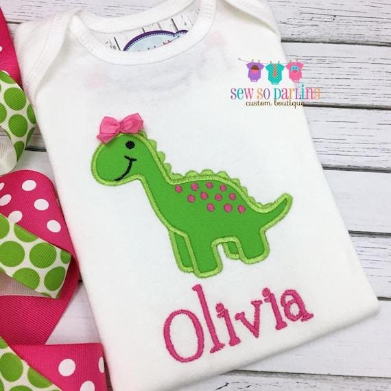 4e42767b982ed Dinosaur baby girl outfit baby girl Dinosaur shirt Girl | Etsy