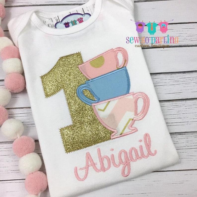 Baby Girl 1st Birthday Teacup Outfit Tea Cup Birthday Outfit 1st Birthday Tea Party Outfit 1st birthday girl outfit pink and gold