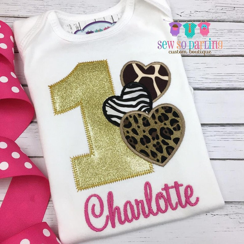 pink gold heart birthday shirt pink and gold animal print birthday shirt leopard print birthday shirt animal print 1st birthday outfit