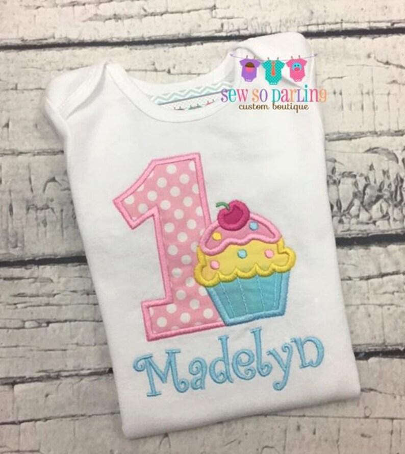 Cupcake Birthday Shirt Baby Girl Cupcake Birthday Outfit 1st Birthday Outfit 1st Birthday pastel Girl Outfit