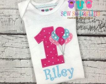 First birthday outfit girl - Baby Girl Birthday Outfit - 1st Birthday Balloon Birthday Outfit - 1st Birthday Shirt - 2nd birthday girl shirt