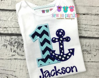 1st Birthday Anchor Birthday Outfit - Baby Boy Nautical Birthday Outfit -  1st Birthday Outfit - First Birthday outfit
