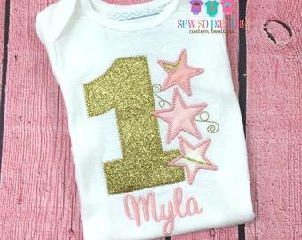 Twinkle Twinkle Little Star Birthday Outfit - first birthday outfit girl - Girls Pink and Gold Birthday Outfit -  1st Birthday star outfit
