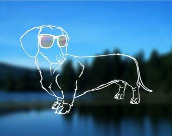 """Dachshund Decal FULL BODY, Dog, Vinyl Decal, Car Decal, Bumper Sticker, 6"""" decal"""