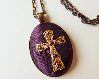 Cross Necklace, Hand Embroidered Pendant, Religious Jewelry, Purple, Bronze, Gold