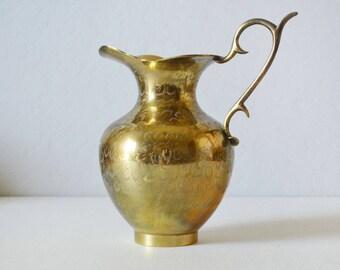 Vintage Brass Pitcher - Brass Vase - Etched Brass Pitcher - Flower Vase