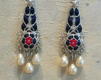 Handmade Ribbon and Filigree Chandelier Earrings with Glass Pearls