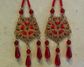 Handmade Ribbon and Filigree Earrings with Glass Beads