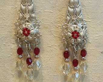 Handmade Ribbon and Filigree Chandelier Earrings with Faceted Glass Beads