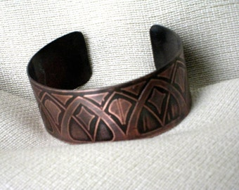 Art Deco Copper Cuff -  Handmade - One of a kind - Original pattern