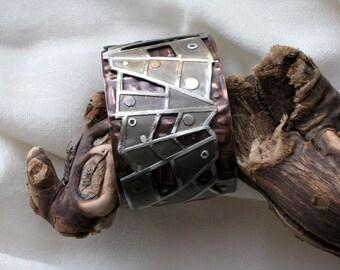 Original cuff bracelet - Modern composition - Artisan handmade jewelry - One of a kind mixmetal