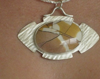 Sterling Silver with cabochon - Handmade Artisan Jewelry - One of a kind Necklace