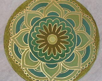 Mandala, Silk painting, Lotus flower, 20cm - 8 in Ø  diametre