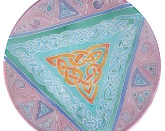 "Celtic Mandala on sillk, Ø 6"" in, mediation, relaxation, sacred space, Wall decoration, Interior design,"
