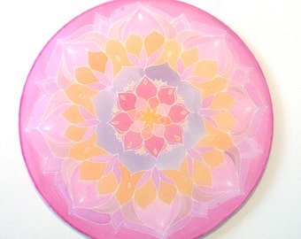 "Lotus flower, Silk mandala, Ø 10""in, silk painting, meditation, picture, relaxation, new age"