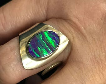 Genuine fiery opal sterling Taxco Mexico ring