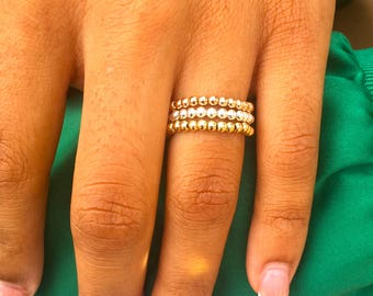 Gold Filled Pink Beaded Ring Toe or Thumb Ring Elasticated Stretch Stacking