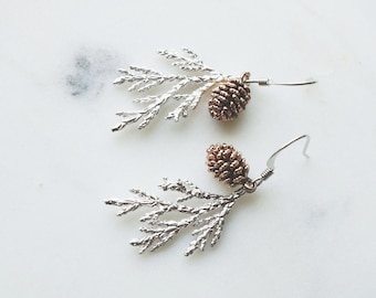 Earrings, pinecone earrings, nature inspired woodland wedding jewelry.