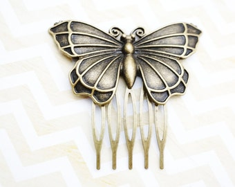Art Nouveau antiqued bronze butterfly hair comb, bridal hair comb,  hair jewelry