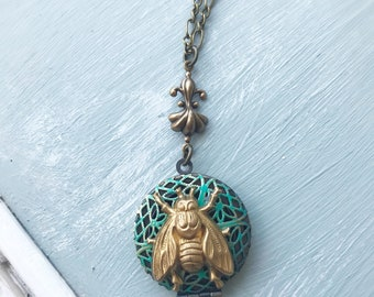 bee turquoise locket necklace