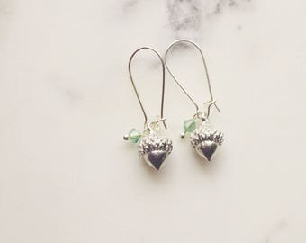 Earrings, small silver acorn earrings
