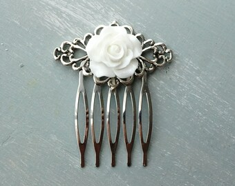 50% OFF SALE! White Resin Rose and silver filigree hair comb 1
