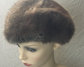Vintage 1950s 1960s Light Brown Fur Ladies Hat - Size Small - Unbranded