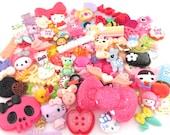 Assorted Mix Kawaii Cabochon Cuteness 25pc Kawaii Animals Fruit Embellishments And More photo