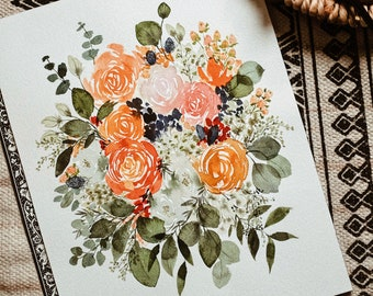 Custom Bouquet Painting/Anniversary Gift/Watercolor Floral Painting/Paper Gift