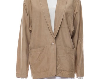 022f80e2 Vintage Kenzo Paris khaki beige silk blazer boyfriend jacket large