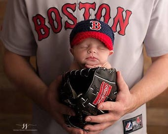 Baby Boy Outfit Boston Red Sox baby boy clothes knitted hats, baseball cap, boy hat, boy hats, newborn hats, crochet hats, baby boy hat
