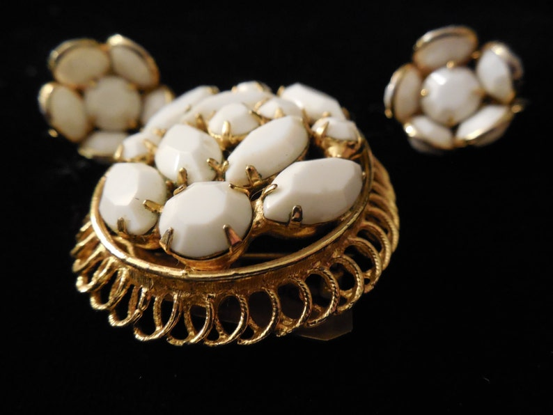 Bezel set earrings Milk Glass Brooch and Earring Set set in gold toned frame. with brooch contains Navette and round milk glass stones