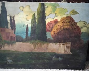 ANTIQUE OIL PAINTING Italianate Villa with swans on the lake