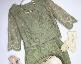 1950's Green Lace Skirt and Top Suit