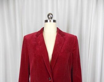 80's Red Velour Blazer Small  Demura Label
