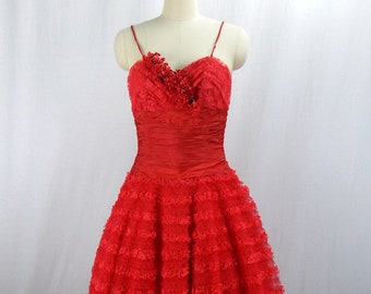 1950's Red Tulle Formal Prom Dress XXS