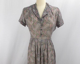 1940's Gray Paisley Day Dress